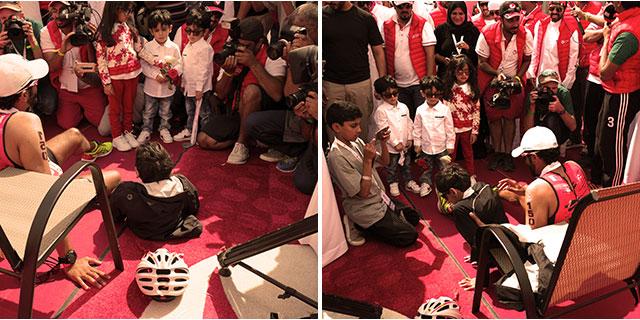 Shaikh Nasser surrounded by fans.