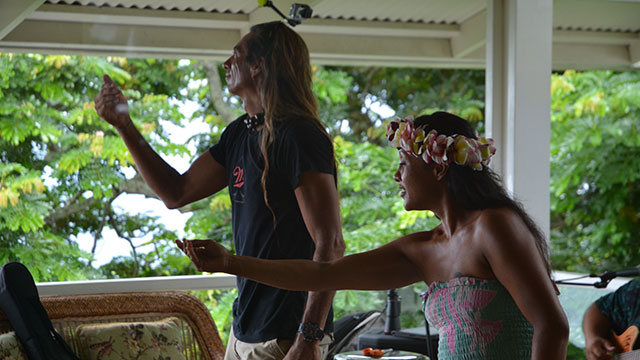 Ka'imi and Noelani telling their stories with soft movements...