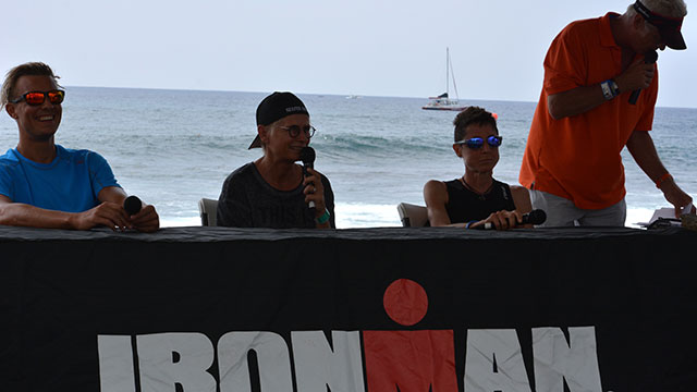 Edith, Sam and I on stage at the IRONMAN® Village ...