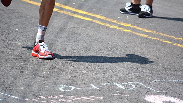 a winner's feet running...