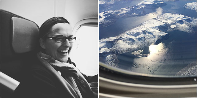 Patricia with her convincing smile. Underneath the ice of West Greenland.